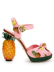 Dolce And Gabbana Pineapple Heel Sandals Pink Multi