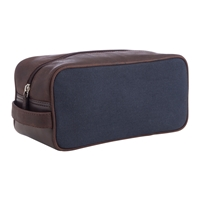 John Lewis Leather Canvas Wash Bag Navy Brown
