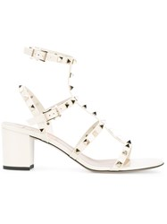 Valentino Rockstud Block Heel Sandals Nude And Neutrals