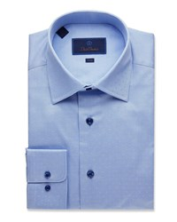 David Donahue Trim Fit Dobby Weave Dress Shirt Blue