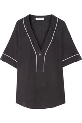 Equipment Atley Washed Silk Top Black