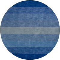 Chandra Metro Patterned Round Contemporary Area Rug Striped Blue