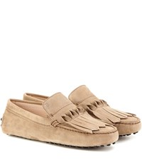 Tod's Gommini Frangia Origami Suede Loafers Beige