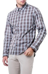 7 Diamonds Men's Majesty Plaid Woven Shirt Brown