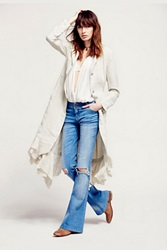 Free People Linen Long Lace Up Jacket