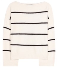 Vince Striped Cashmere Sweater White