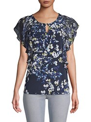 Ellen Tracy Mixed Media Ruffled Top Blue Multi