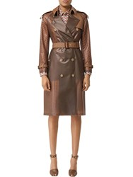 Burberry Rubber And Croc Printed Leather Trenchcoat Brown