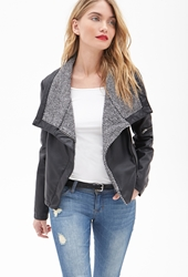 Forever 21 Faux Leather And Tweed Jacket Black Ivory