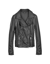 Forzieri Black Quilted Leather Motorcycle Jacket