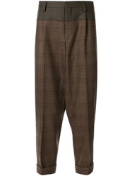 Kolor Contrast Panel Tailored Trousers Brown