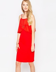 Love Jersey Dress With Chiffon Detail Red