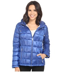 Calvin Klein Short Hooded Lightweight Packable Down Pearlized Royal Blue Women's Coat
