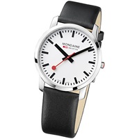 Mondaine Men's Simply Elegant Leather Strap Watch White Black
