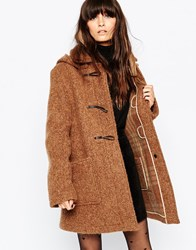 Gloverall Textured Duffle Coat Brown