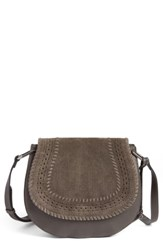 Vince Camuto Kirie Suede And Leather Crossbody Saddle Bag Grey Tornado Matte