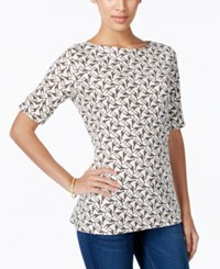 Karen Scott Giraffe Print Elbow Sleeve Top Only At Macy's Bright White
