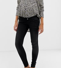 Mamalicious Slim Jeans With Velour Tape Detail And Bump Band Black