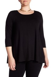 Chelsea And Theodore 3 4 Sleeve Knit Swing Shirt Plus Size Black