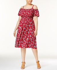 Almost Famous Trendy Plus Size Off The Shoulder Ruffle Dress Red Combo