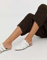 Qupid Pointed Weave Mules White