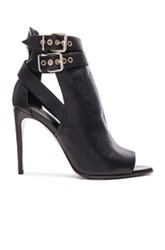 Burberry London Overfield Peep Toe Leather Ankle Booties In Black