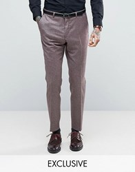 Heart And Dagger Skinny Trousers In Tweed Burgundy Red