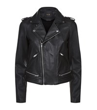 Maje Basalt Leather Jacket Female Black