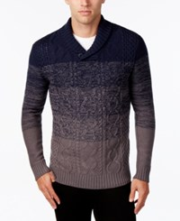 Retrofit Men's Ombre Cable Knit Shawl Collar Sweater Moonlight