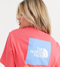 The North Face Red Box T Shirt In Coral Pink