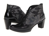 Naot Footwear Baccio Black Madras Leather Shiny Black Leather Shadow Gray Nubuck Brus Women's Boots