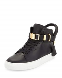 Buscemi 100Mm Bison High Top Sneaker Black White