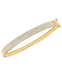 Macy's Diamond Pave Hinged Bangle Bracelet 1 2 Ct. T.W. In 14K Gold Plated Sterling Silver