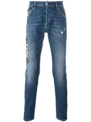 Philipp Plein 'Twisted Bear' Straight Leg Jeans Blue