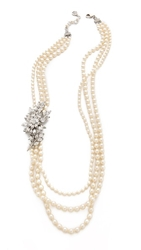 Ben Amun Crystal Flower Imitation Pearl Necklace Pearl Clear