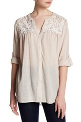 Tassels N Lace Button Up Shirt Beige