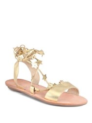 Loeffler Randall Starla Star Detail Leather Lace Up Sandals Pale Gold