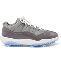 Nike Golf Air Jordan 11 Patent And Smooth Leather Golf Shoes Gray