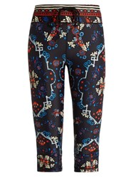 The Upside Antique Folk Power Cropped Performance Leggings Black Multi