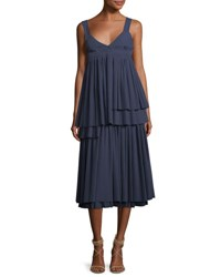 Cedric Charlier Tiered Plisse Square Back Maxi Dress Blue