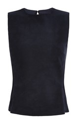 Martin Grant Sleeveless Suede Top Navy