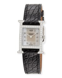 Hermes Heure H Diamond Stainless Steel And Alligator Strap