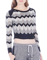 Buffalo David Bitton Barbary Zig Zag Stripe Cropped Sweater Grey Combo