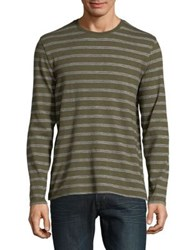 Black Brown Striped Long Sleeve Cotton Tee Deep Olive