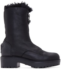 Versace Black Inverted Fur Zipper Boots
