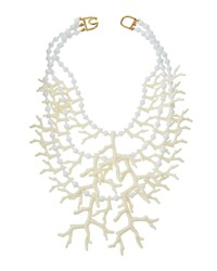 Kenneth Jay Lane Triple Strand Faux Coral Branch Statement Necklace White
