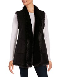 Marc New York Reversible Faux Shearling Long Vest Black