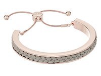 Guess Braided Cord Inset Slider Bracelet Rose Gold Grey Bracelet Gray