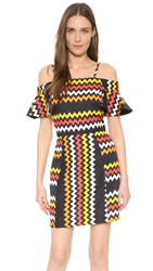 Msgm Off Shoulder Zigzag Dress Red Black Yellow White