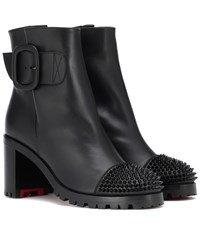 Christian Louboutin Olivia Snow 70 Leather Ankle Boots Black
